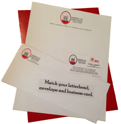 Match business card to letterhead